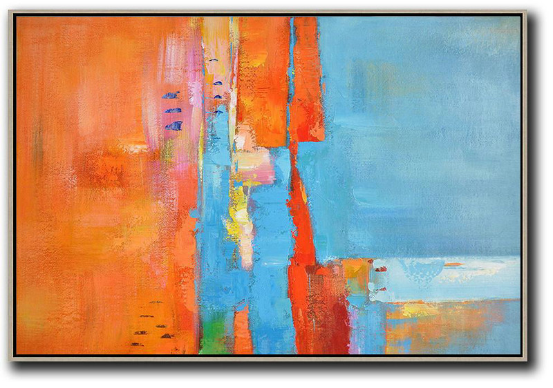 Abstract Oil Painting,Oversized Horizontal Contemporary Art,Original Modern Art,Large Wall Art Handmade Orange,Sky Blue,Yellow