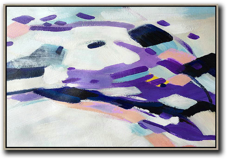Acrylic Painting Wall Art,Oversized Horizontal Contemporary Art,Large Wall Art Canvas White,Purple,Pink