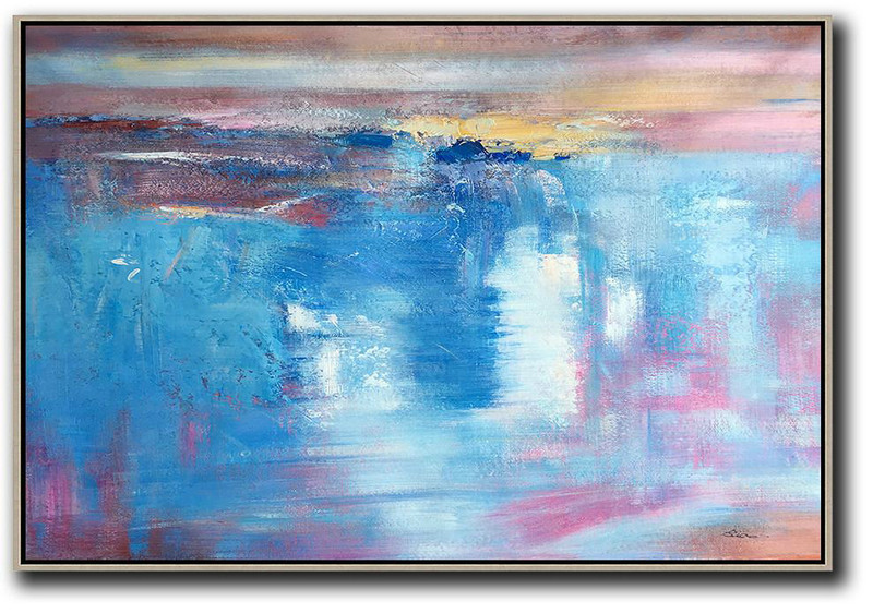 Large Oil Canvas Art,Oversized Horizontal Contemporary Art,Canvas Artwork For Living Room Blue,Pink,Yellow,White