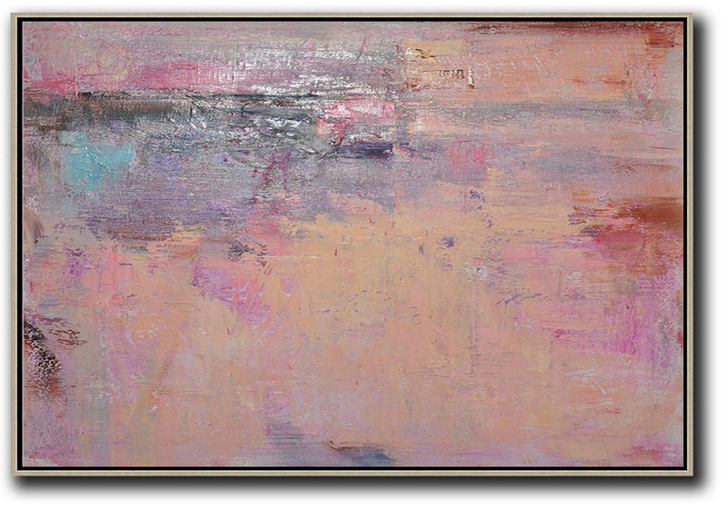 Huge Canvas Art On Canvas,Oversized Horizontal Contemporary Art,Big Living Room Decor Nude,Pink,Purple,Brown