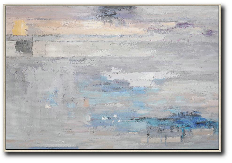 Large Paintings For Living Room,Oversized Horizontal Contemporary Art,Oversized Wall Decor Grey,Blue,White