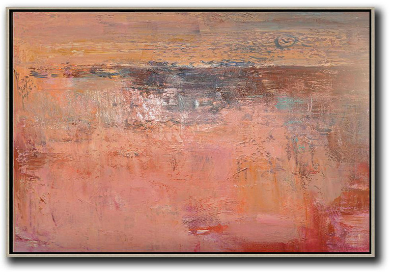 Big Art Canvas,Oversized Horizontal Contemporary Art,Decorating A Big Living Room Pink,Nude,Brown,Red
