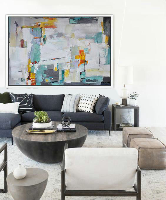 Extra Large Acrylic Painting On Canvas,Oversized Horizontal Contemporary Art,Living Room Wall Art White,Grey,Lake Blue,Yellow - Click Image to Close