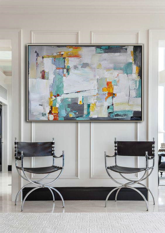 Extra Large Acrylic Painting On Canvas,Oversized Horizontal Contemporary Art,Living Room Wall Art White,Grey,Lake Blue,Yellow