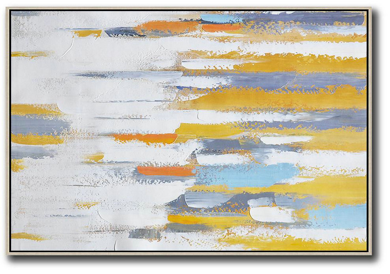 Abstract Painting On Canvas,Oversized Horizontal Contemporary Art,Custom Oil Painting White ,Grey,Yellow,Orange