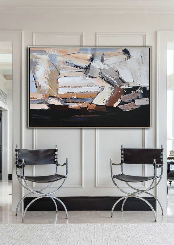 Extra Large Canvas Painting,Oversized Horizontal Contemporary Art,Abstract Paintings On Sale White,Grey,Brown,Black