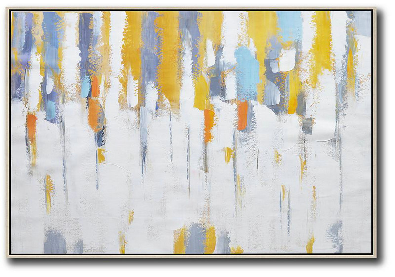 Abstract Painting Modern Art,Oversized Horizontal Contemporary Art,Original Abstract Oil Paintings White,Yellow,Purple Grey