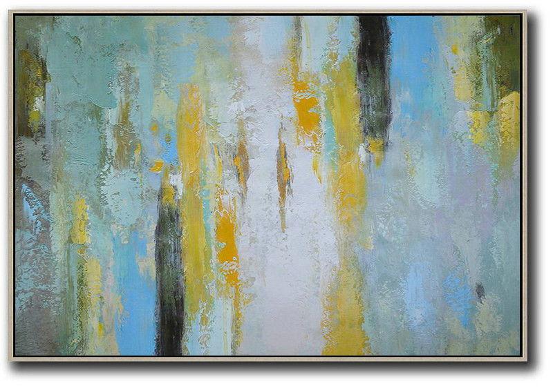 Contemporary Art Canvas Painting,Oversized Horizontal Contemporary Art,Acrylic Painting Canvas Art White,Yellow,Purple Grey,Black,Lake Blue