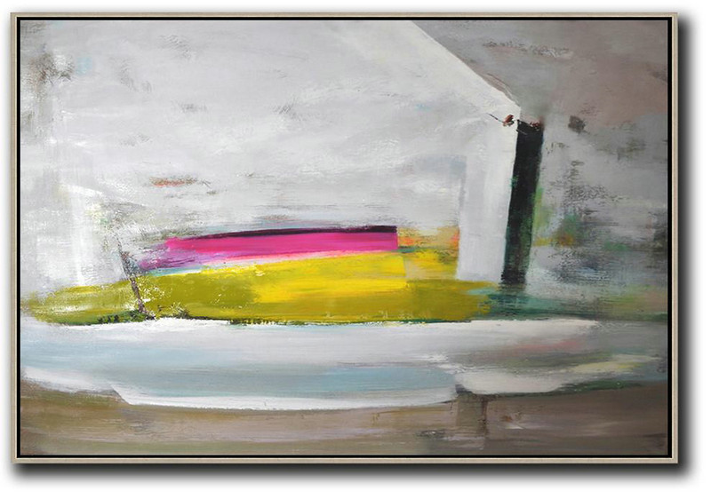 Hand Paint Large Clean Modern Art,Horizontal Palette Knife Contemporary Art,Acrylic Painting On Canvas Grey.Yellow,Pink