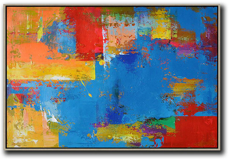 Contemporary Art Wall Decor,Horizontal Palette Knife Contemporary Art,Hand Painted Aclylic Painting On Canvas Blue,Red,Yellow,Orange