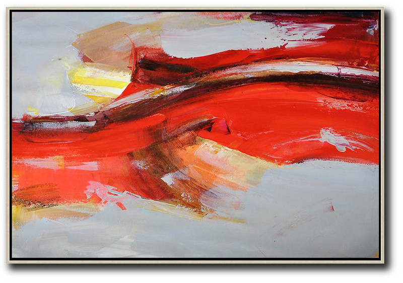 Acrylic Painting Canvas Art,Horizontal Palette Knife Contemporary Art,Acrylic Painting Large Wall Art Red,Grey,Yellow