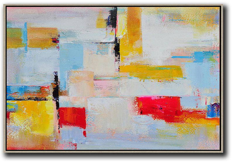 Extra Large Canvas Art,Handmade Acrylic Painting,Horizontal Palette Knife Contemporary Art,Big Canvas Painting Yellow,White,Red