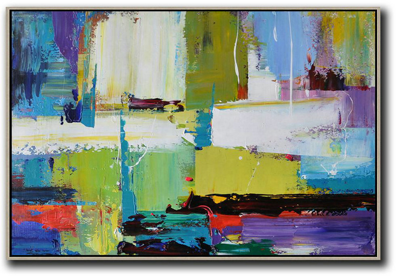 Canvas Wall Art Home Decor,Horizontal Palette Knife Contemporary Art,Modern Art Abstract Painting Yellow,White,Blue,Purple