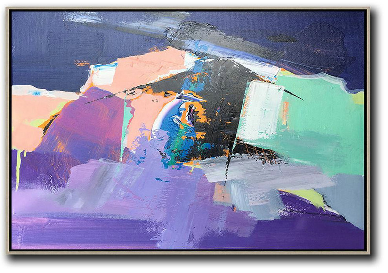 Hand Painted Acrylic Painting,Horizontal Palette Knife Contemporary Art,Oversized Custom Canvas Art Pink,Purple,Black