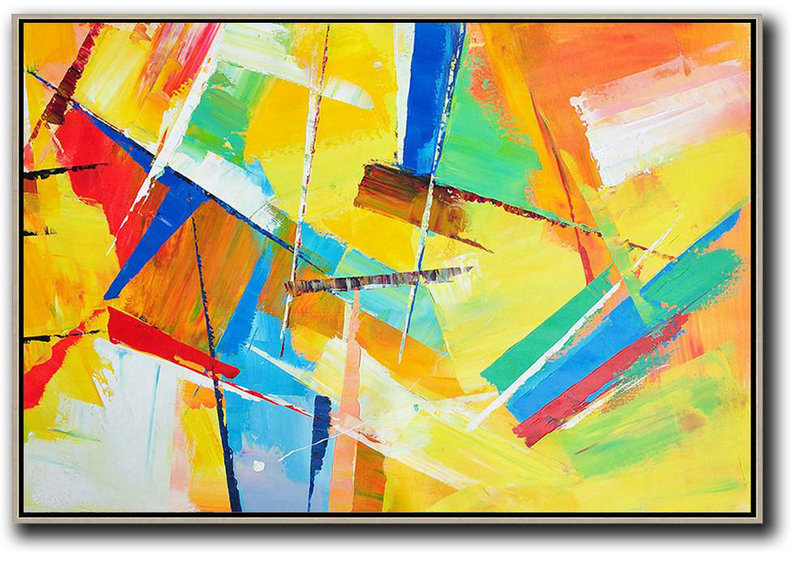 Large Contemporary Art Canvas Painting,Horizontal Palette Knife Contemporary Art,Huge Canvas Art On Canvas Yellow,Red,Blue