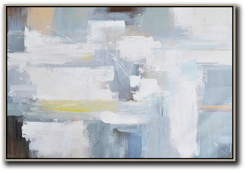 Modern Canvas Art,Horizontal Palette Knife Contemporary Art,Hand Made Original Art Grey,White,Yellow,Brown