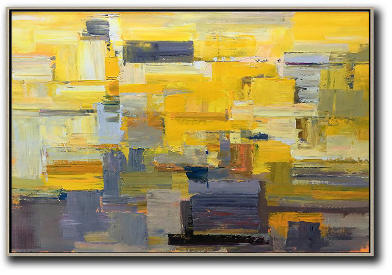 Large Canvas Wall Art For Sale,Horizontal Palette Knife Contemporary Art,Canvas Painting Wall Decor Yellow,Grey,White