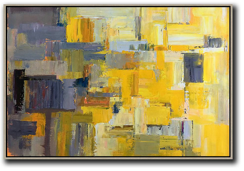 Modern Paintings On Canvas,Horizontal Palette Knife Contemporary Art,Home Canvas Wall Art Yellow,Grey,White