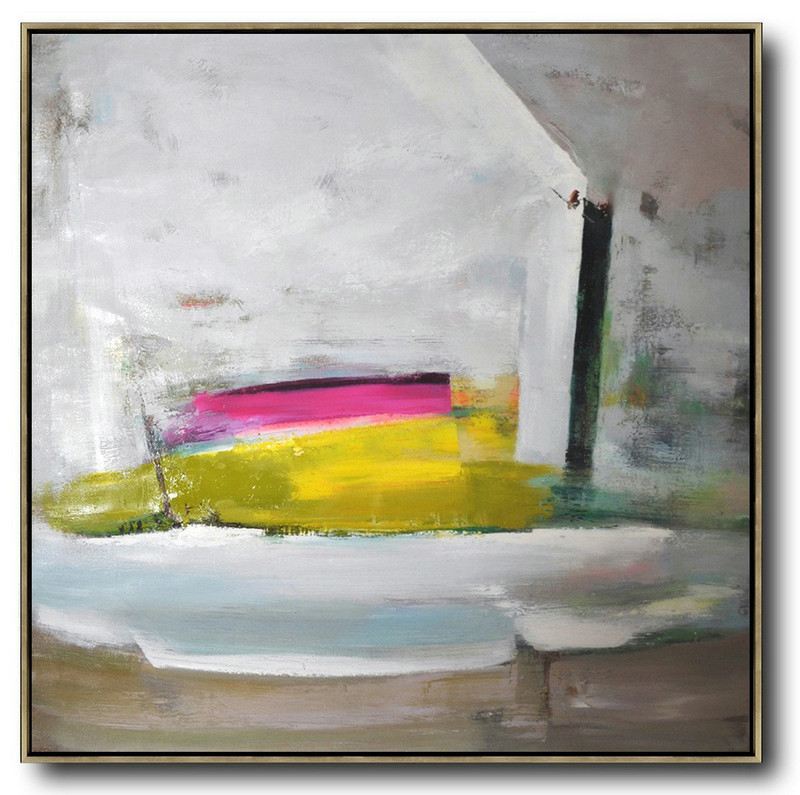 Handmade Painting Large Abstract Art,Oversized Palette Knife Painting Contemporary Art On Canvas,Abstract Art Decor Large Canvas Painting Grey,Pink,Yellow