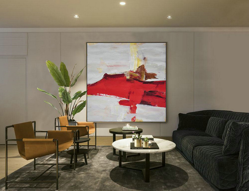 Abstract Painting Extra Large Canvas Art,Oversized Palette Knife Painting Contemporary Art On Canvas,Large Oil Canvas Art Grey,Red,Yellow,Brown - Click Image to Close