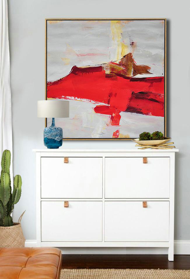 Abstract Painting Extra Large Canvas Art,Oversized Palette Knife Painting Contemporary Art On Canvas,Large Oil Canvas Art Grey,Red,Yellow,Brown