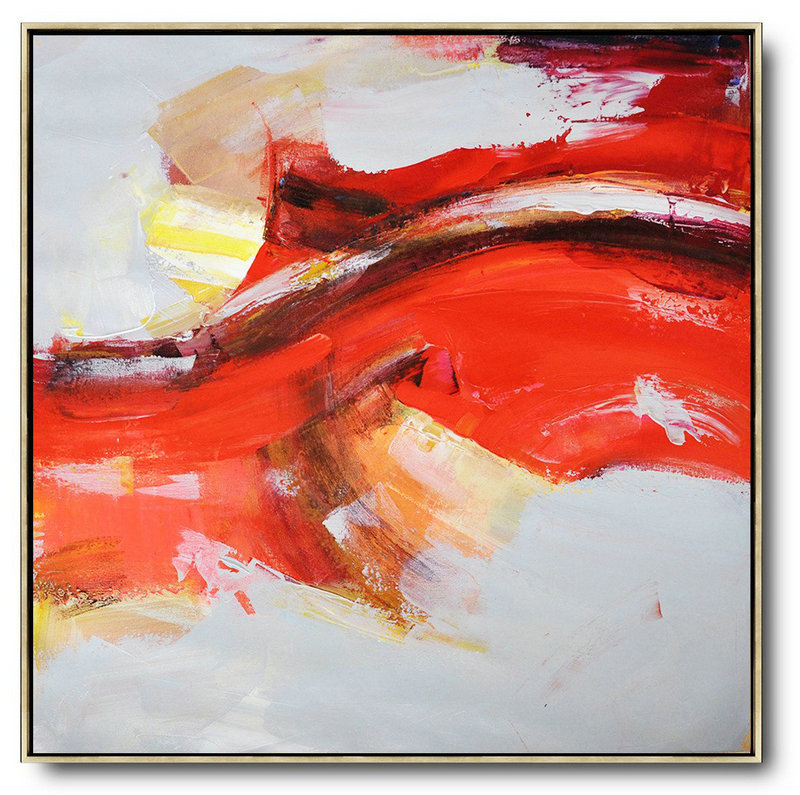 Large Modern Abstract Painting,Oversized Palette Knife Painting Contemporary Art On Canvas,Abstract Art On Canvas, Modern Art Red,Yellow,Grey