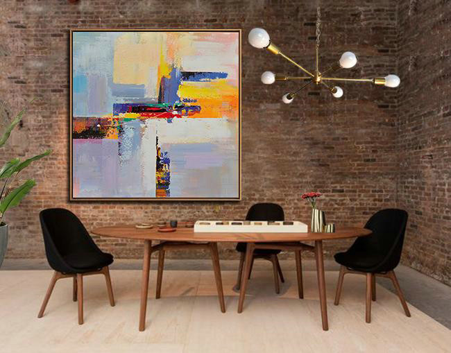 Extra Large Abstract Painting On Canvas,Oversized Palette Knife Painting Contemporary Art On Canvas,Modern Paintings On Canvas Blue,Yellow,Red,Pink Purple