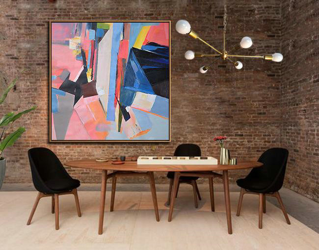 Original Painting Hand Made Large Abstract Art,Oversized Palette Knife Painting Contemporary Art On Canvas,Hand Made Original Art Pink,Blue,Dark Blue,Red,Yellow