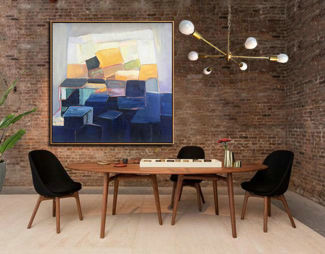 Extra Large Acrylic Painting On Canvas,Oversized Palette Knife Painting Contemporary Art On Canvas,Hand Painted Abstract Art Dark Blue,Blue,White,Yellow,Purple
