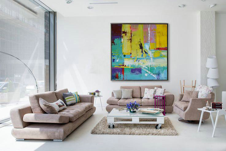 Extra Large Acrylic Painting On Canvas,Oversized Palette Knife Painting Contemporary Art On Canvas,Large Wall Canvas Paintings Lake Blue,Purple,Yellow,Red
