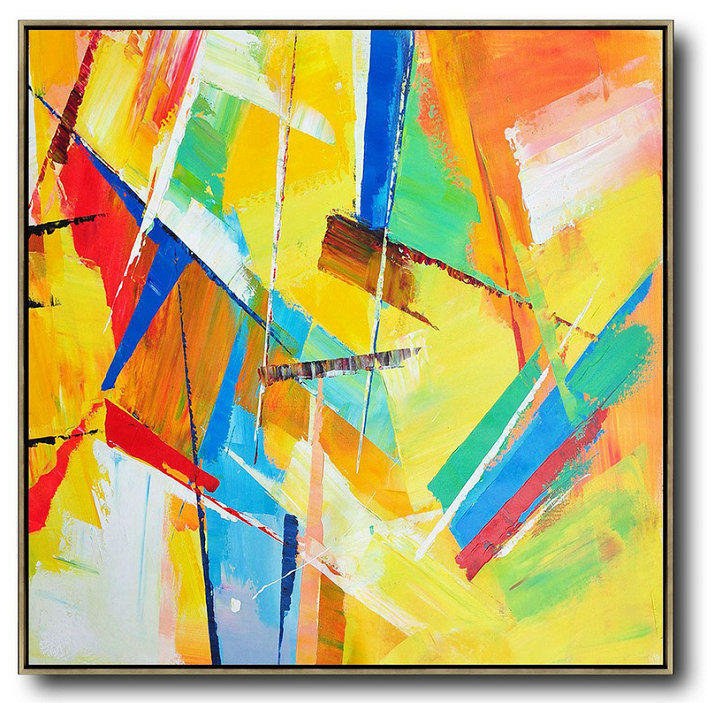 Original Artwork Extra Large Abstract Painting,Oversized Palette Knife Painting Contemporary Art On Canvas,Large Paintings For Living Room Yellow,Light Green,Red,Blue,Pink