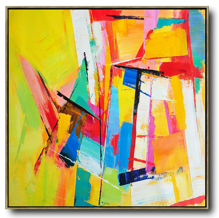 Extra Large Painting,Oversized Palette Knife Painting Contemporary Art On Canvas,Original Abstract Painting Canvas Art Yellow,Blue,Red,Pink,Light Green