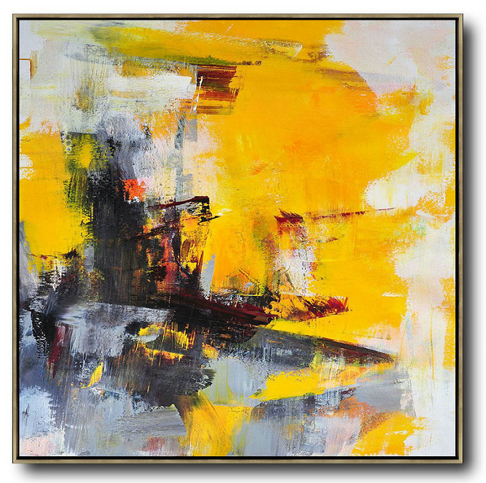 Extra Large Abstract Painting On Canvas,Oversized Palette Knife Painting Contemporary Art On Canvas,Personalized Canvas Art Black,Yellow,White,Red,Grey