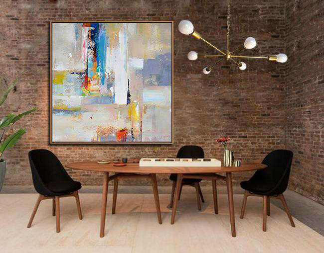 Original Artwork Extra Large Abstract Painting,Oversized Palette Knife Painting Contemporary Art On Canvas,Home Decor Canvas Blue,Yellow,Nude,Pink,Red