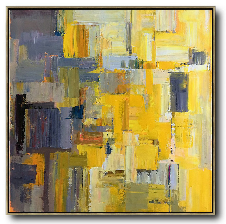 Large Abstract Art,Oversized Palette Knife Painting Contemporary Art On Canvas,Acrylic Painting On Canvas Yellow,Gray Violet,Brown,Taupe
