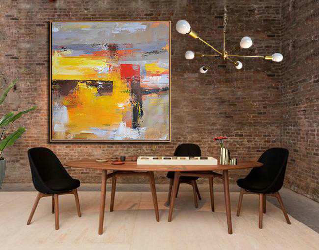 Large Modern Abstract Painting,Oversized Palette Knife Painting Contemporary Art On Canvas,Large Abstract Wall Art Yellow,Grey,Brown,Red,Taupe