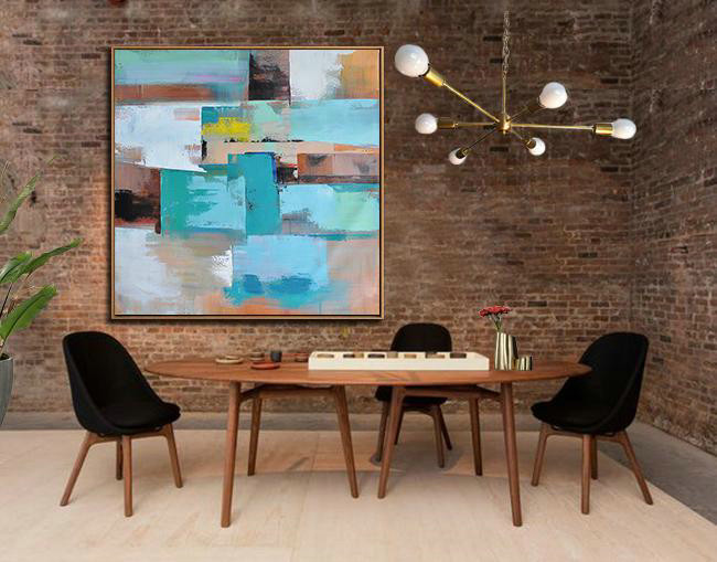 Original Painting Hand Made Large Abstract Art,Oversized Palette Knife Painting Contemporary Art On Canvas,Acrylic Painting On Canvas Sky Blue,Brown,Orange,Light Green,Earthy Yellow