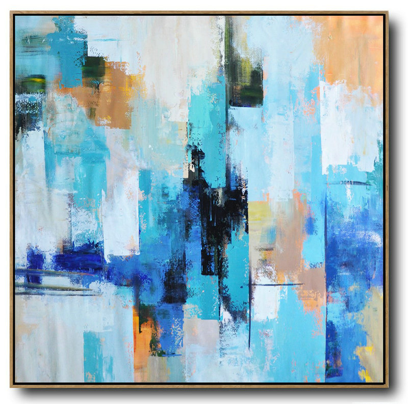 Original Abstract Painting Extra Large Canvas Art,Palette Knife Contemporary Art Canvas Painting,Hand Painted Acrylic Painting Sky Blue,Yellow,White,Blue