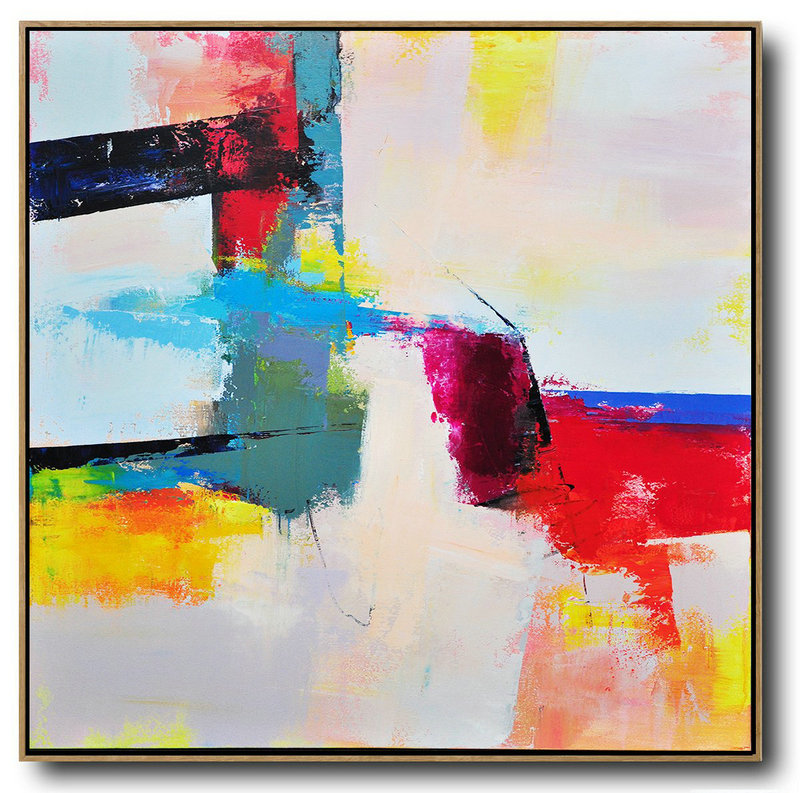 Extra Large Textured Painting On Canvas,Palette Knife Contemporary Art Canvas Painting,Abstract Art Decor,Contemporary Painting Pink,Red,Blue,Yellow