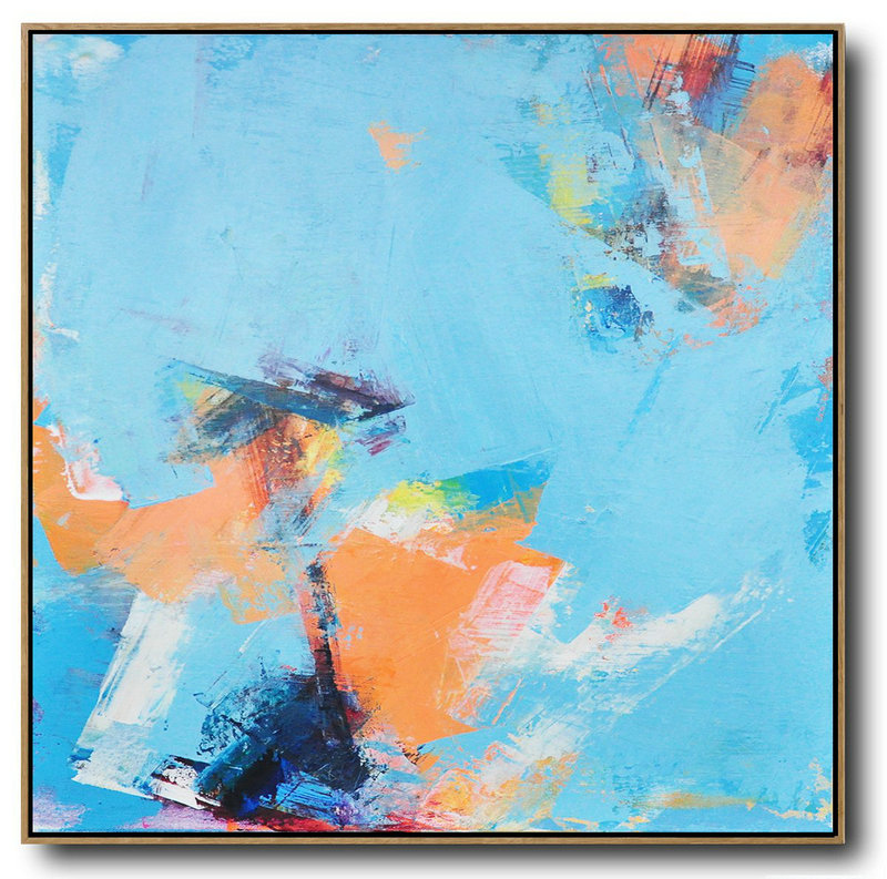 Large Abstract Art,Palette Knife Contemporary Art Canvas Painting,Hand Paint Abstract Painting Sky Blue,Orange,Yellow,White