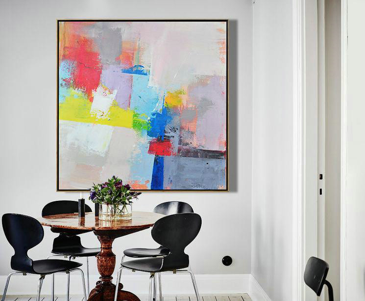Original Extra Large Wall Art,Palette Knife Contemporary Art Canvas Painting,Original Art Acrylic Painting Pink,Red,Blue,Yellow,Violet Ash