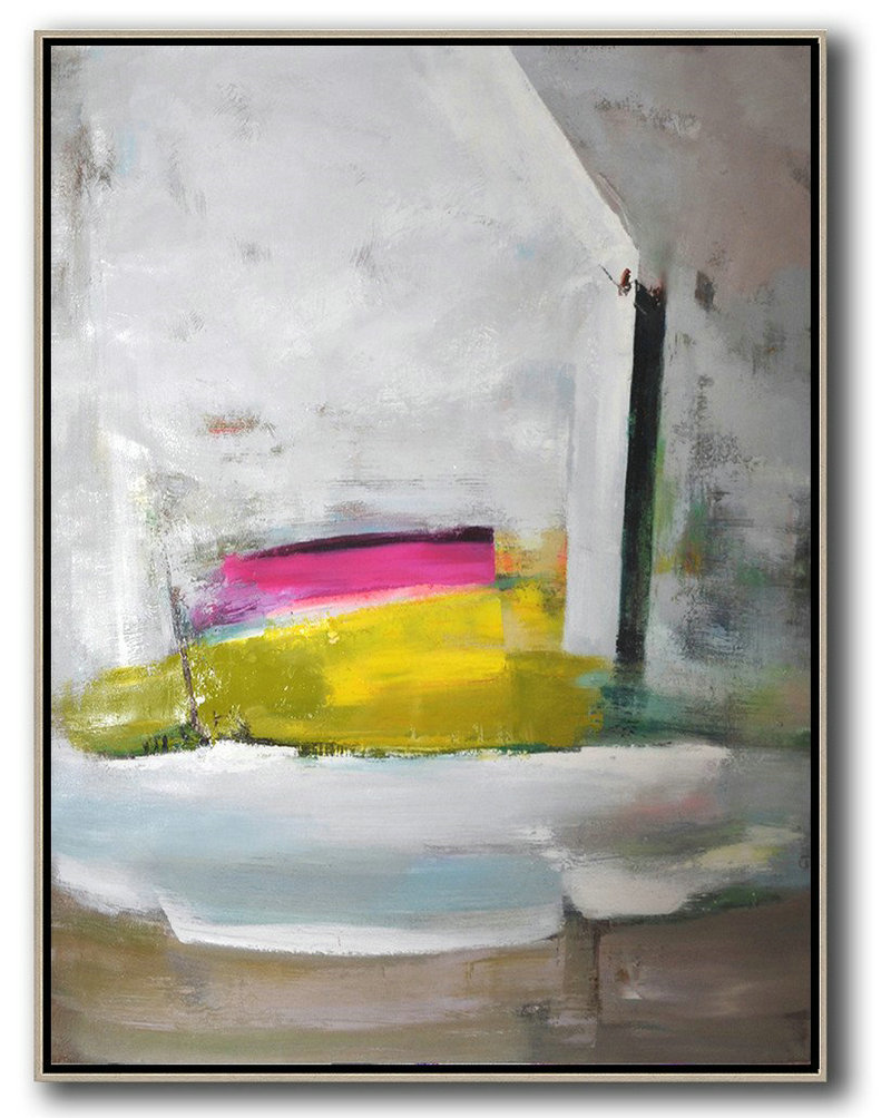 Abstract Painting Extra Large Canvas Art,Vertical Palette Knife Contemporary Art,Canvas Wall Paintings Grey,White,Yellow,Pink