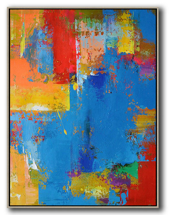 Large Abstract Painting Canvas Art,Vertical Palette Knife Contemporary Art,Size Extra Large Abstract Art Blue,Red,Yellow