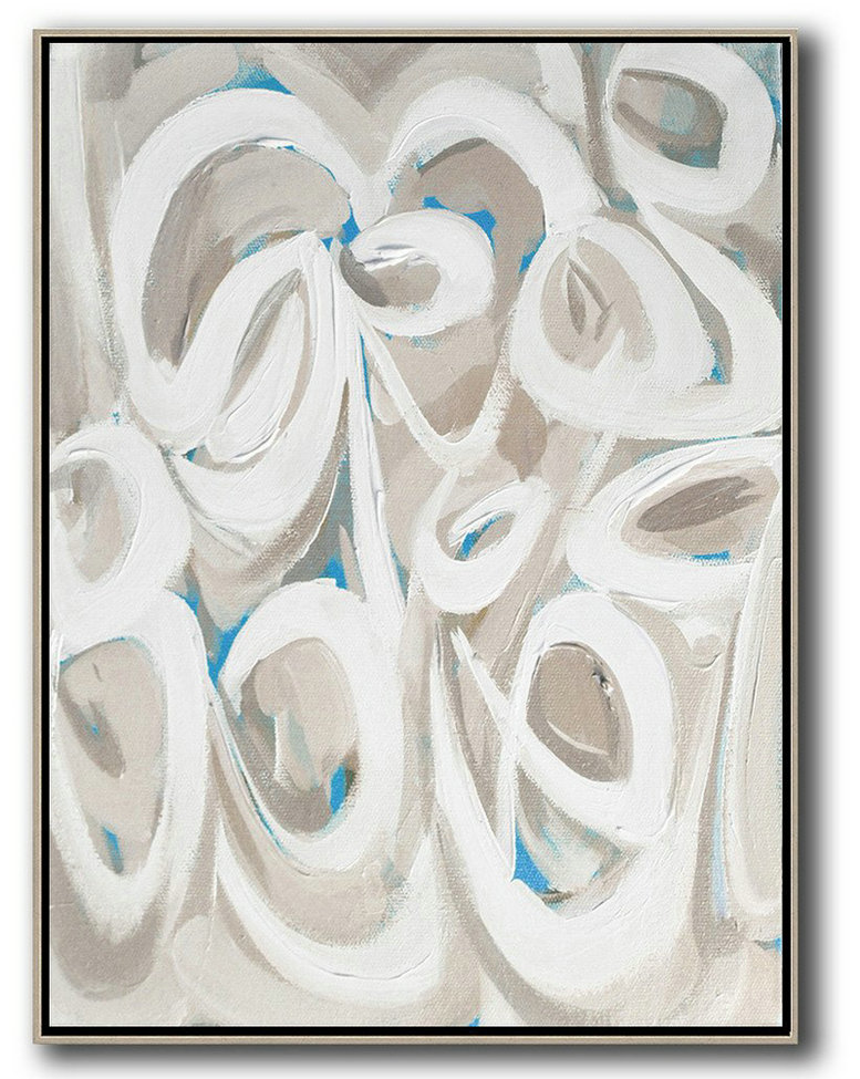 Handmade Large Contemporary Art,Vertical Palette Knife Contemporary Art,Hand Painted Abstract Art White,Beige,Blue