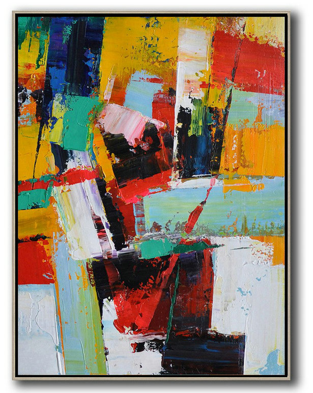 Extra Large Canvas Art,Vertical Palette Knife Contemporary Art,Acrylic Painting Large Wall Art Yellow,Red,White,Blue