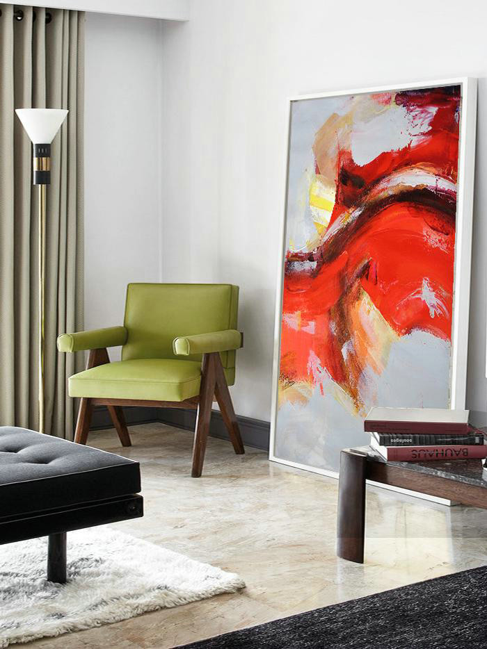 Handmade Large Contemporary Art,Vertical Palette Knife Contemporary Art,Modern Abstract Wall Art Grey,Red,Yellow