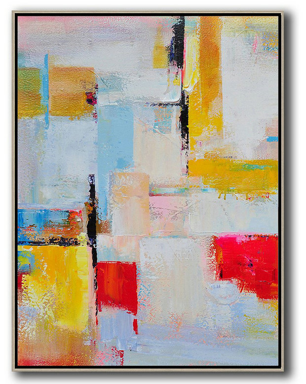 Extra Large Abstract Painting On Canvas,Vertical Palette Knife Contemporary Art,Contemporary Art Canvas Painting Pink,Red,Yellow,Grey,Sky Blue