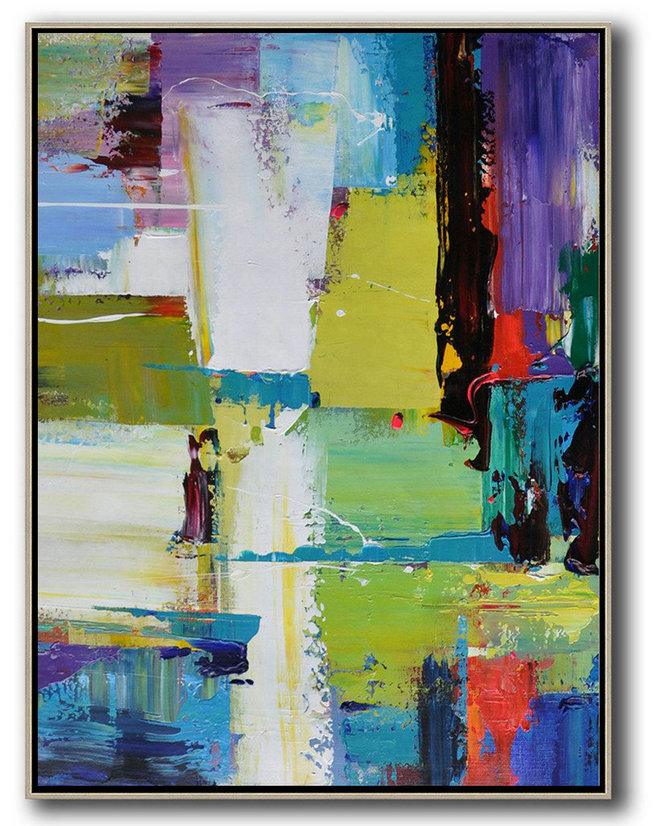 Extra Large Acrylic Painting On Canvas,Vertical Palette Knife Contemporary Art,Artwork For Sale Purple,Yellow,Grass Green,Black,Red