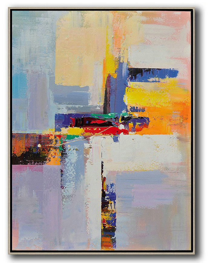 Original Artwork Extra Large Abstract Painting,Vertical Palette Knife Contemporary Art,Original Modern Art,Large Wall Art Handmade Yellow,White,Red,Purple