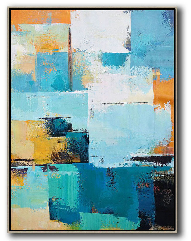 Extra Large Acrylic Painting On Canvas,Vertical Palette Knife Contemporary Art,Abstract Painting Modern Art White,Blue,Orange,Yellow